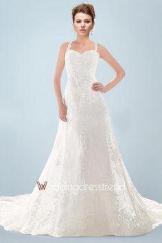 Vintage Appliqued Lace Chapel Train A-line Church Wedding Dress