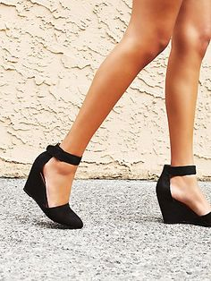 Peaks Point Wedge   Leather nubuck pointy toe wedge with easy adjustable Velcro ankle straps. Handmade.   *By Jeffrey Campbell