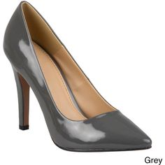 Journee Collection Women's 'Tokyo' Pointed Toe Pumps (46 AUD) ❤ liked on Polyvore featuring shoes, pumps, grey, high heel pumps, wide width pumps, platform shoes, pointed toe pumps and grey patent pumps