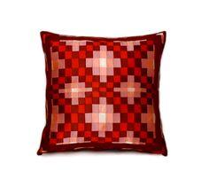 """pillow case 18 / 18"""", #decorative #pillows, throw #pillows, #patchwork pillow, sofa #cushions, #pillowcase, pillow case, #brown, #beige, #red,  zipper #bedding #pillows #homedecor #craft #pillow #bedding #pillows #homewares #birthdaygift #pillow covers, sofa pillow, #needlework, decorative pillow, throw pillow, #handmade #AnnushkaHomeDecor $27,00 USD"""