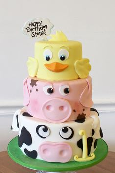 Farm Animal Faces Birthday Cake - Top Of The World Boys 1st Birthday Cake, Animal Birthday Cakes, Farm Animal Birthday, Adult Birthday Cakes, Themed Birthday Cakes, Themed Cakes, Birthday Ideas, Cake Bake Shop, Farm Animal Cakes