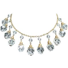 Pre-owned Opulent Art Deco Crystal Drop Necklace c 1940s ($335) ❤ liked on Polyvore featuring jewelry, necklaces, beaded necklaces, crystal drop necklace, dangle necklace, chain necklace, graduation jewelry e art deco necklace