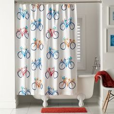 Joy Ride Shower Curtain from The Company Store Bicycle Decor, Joy Ride, Home Tech, The Company Store, Upstairs Bathrooms, Kids Bath, Bath Rugs, Guest Bath, Beautiful Bathrooms