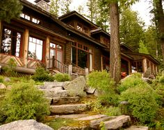 Villa: Traditional Landscape Stone Pathway With Outdoor Stairs Adirondack Style, Lake Scenery, Flower Pattern Sofa, Wooden Chair