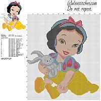 Disney Baby Princess Snow White free cross stitch pattern 138x159 stitches 18 DMC threads