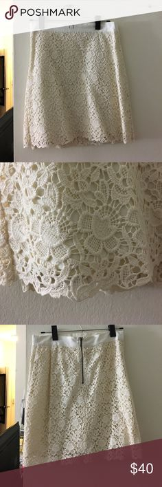 Cream lace skirt - 6 Petite Lacey sexy ivory/cream skirt - very comfy. Has two layers, one layer for the material under lace, and then the layer of lace! Size is 6Petite LOFT Skirts Midi