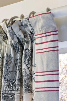 """Interessanter Mustermix """"Riviera Red"""" und """"Pastorale"""" aus der Annie Sloan Fabric Collection."""