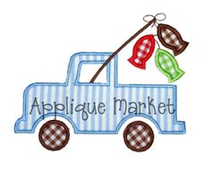 Machine Embroidery Design Applique Fish Truck by tmmdesigns, $4.00