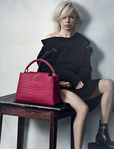 Michelle Williams in a new campaign, Louis Vuitton bags