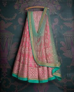 SMF LEH 318 17 I Candy pink threadwork lehenga with teal shaded badla dpuatta and baby pink threadworl blouse (SOLD)