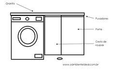 O AMBIENTE IDEAL: Sketch dos armários da lavanderia e banheiros.