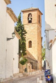Church with Arabic tower in the Albaicín, Granada