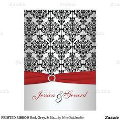 PRINTED RIBBON Red, Gray, & Black Damask Wedding 5x7 Paper Invitation Card