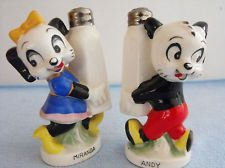RARE 1958 Walter Lantz Productions Miranda & Andy Salt & Pepper Shakers, Napco