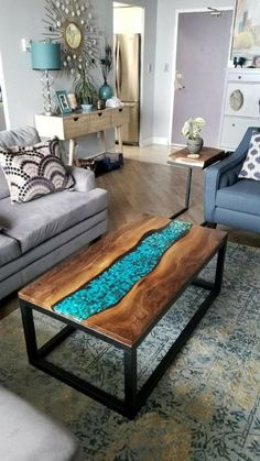 Amazing Tips Decor your Coffee Table - Ideaz Home Resin Furniture, Unique Furniture, Furniture Design, Live Edge Furniture, Wood Resin Table, Wood Tables, Muebles Living, Diy Coffee Table, Rustic Wood Coffee Table