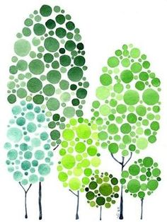Dot trees - just use different sized sponges to make the trees! by ginaska