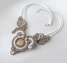 Beige necklace white necklace bridal necklace soutache necklace wedding necklace