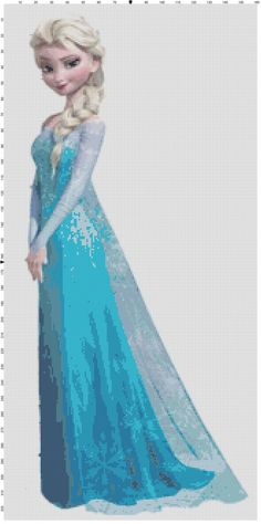 """Elsa"" ~ a PDF cross stitch pattern from the Disney movie ""Frozen"" Frozen Cross Stitch, Cross Stitch For Kids, Cross Stitch Love, Beaded Cross Stitch, Crochet Cross, Cross Stitch Charts, Cross Stitch Embroidery, Disney Stitch, Disney Cross Stitch Patterns"