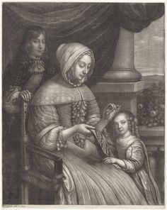Wallerant Vaillant | Handwerkende vrouw, Wallerant Vaillant, 1658 - 1677 | Een jonge vrouw verricht verstelwerkzaamheden op een terras. Twee kinderen staan bij haar.