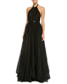 TAD3Q Donna Karan Sequined Halter Ball Gown