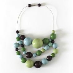 Kristina Klarin necklace: Painted wooden beads in the very best colors.