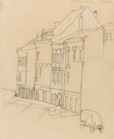 Egon Schiele 1890 - 1918 HÄUSER IN KRUMAU (HOUSES IN KRUMAU) black crayon and chalk on paper 45.6 by 28.5cm., 17 5/8 by 11 1/4 in. Executed in 1918.