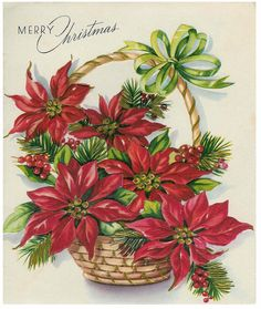 The Sum Of All Crafts: image collection-Holidays (Christmas) Christmas Poinsettia, Christmas Flowers, Noel Christmas, Retro Christmas, Christmas Colors, Christmas Greetings, Christmas Crafts, Vintage Christmas Images, Christmas Pictures