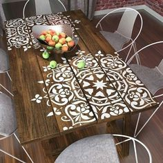 White Stamped Wooden Table and Wire Chairs
