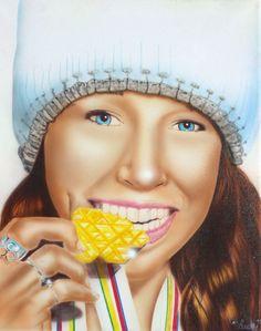 Ski Jump Champion Sarah Hendrickson airbrushed on canvas  visit www.luckyart.it