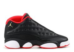 9c9e5d07755e8a 2018 Big Discount New AIR JORDAN 13 RETRO LOW BG GS BRED black mtllc gld-