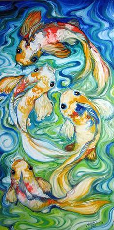 "muspaint ""Koi Four"" par Marcia Baldwin: #OilPaintingFish"