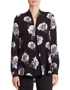 Lord & Taylor Anna Floral-Print Pleated V-Neck Blouse Women's Black Me