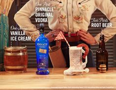 Pinnacle® Wranglin' Root Beer Float Cocktail Recipe   1 scoop of vanilla ice cream 1 part Pinnacle® Original Vodka 2 parts root beer  Share with hombres and bandits alike.