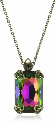 "Sorrelli ""Hibiscus"" Medium Vitrail Emerald Cut Set On a Fancy Filigree Pendant Necklace | Jewelries Gallery Online"