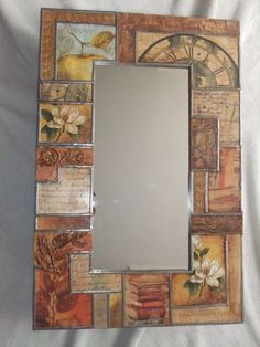espejos con decoupage - Buscar con Google Mirror Mosaic, Mosaic Art, Old Mirrors, Decoupage Vintage, Mosaic Projects, Painted Chairs, Painting On Wood, Diy Art, Canvas Wall Art