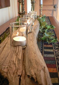 Create a statement with this natural, large rustic 6 votive candle holder.    Beautifully aged and softened by time. I spend many happy hours