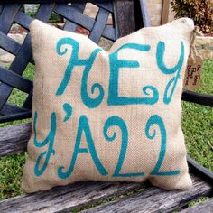 "HEY Y'ALL ""Front Porch"" Burlap Pillow - Outdoor Decor"