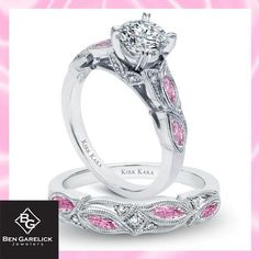 Cherry Blossom Pink Engagement Ring Set. Engagement ring is $2850 (center diamond sold separately) and matching wedding band $1960.