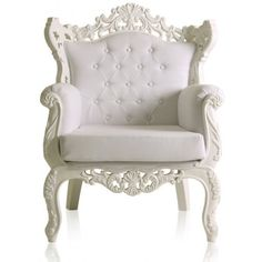 modern baroque white living room armchairs ❤ liked on Polyvore featuring home, furniture, chairs, accent chairs, decor, interior, wood arm chair, white wooden chair, wooden furniture and wooden arm chair Elegant Sofa, Poltrona Retro, White Sofas, White Armchair, White Chairs, Patterned Armchair, Modern Baroque, Modern Victorian, Shades Of White