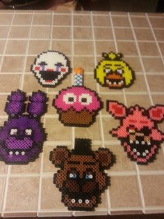 Justin's fnaf birthday party perler bead decorations.