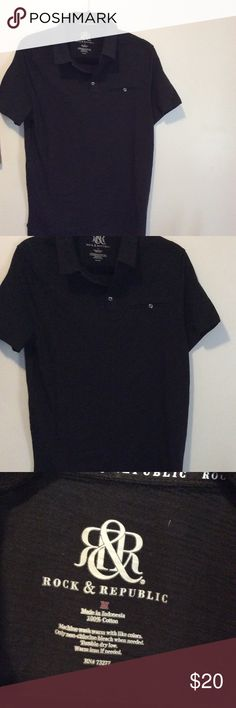Rock & Republic Short Sleeve Polo Size Medium Rock & Republic Short Sleeve New Black Polo Shirt Size Medium   NWOT  Material: 100% Cotton   Approximate measurements:  Arm pit to arm pit 19 Across the back 15 Sleeve opening 6.5 Overall length 27  Thank you for viewing my item. Have a blessed day. Rock & Republic Shirts Polos