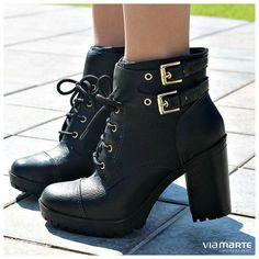 botas de cano curto - coturno de salto alto - winter heels - black - boots - Inverno 2015 - Ref. 15-5801                                                                                                                                                      Mais