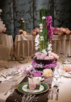 Japanese Wedding Pink flower and bamboo