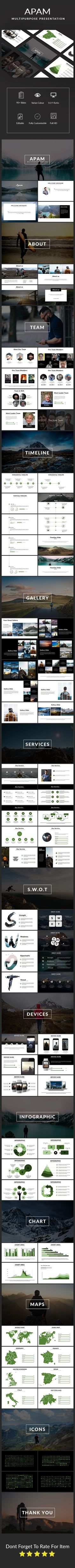 Apam Multipurpose Template by jason_born MAIN FILE: Note : All Image Is Not Include Easy to change colors, Fully editable text, photos, Shape & other elements Unique Custo Presentation Design Template, Presentation Layout, Presentation Slides, Business Presentation, Powerpoint Tutorial, Powerpoint Template Free, Keynote Template, Infographic, Clean Design