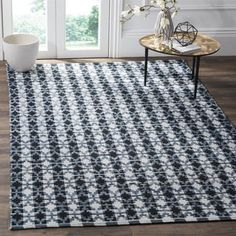 Shop for Safavieh Hand-Woven Montauk Flatweave Ivory Blue / Black Cotton Rug (9' x 12'). Get free shipping at Overstock.com - Your Online Home Decor Outlet Store! Get 5% in rewards with Club O!