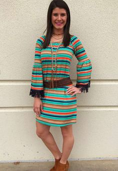 Southwest Santa Fe Serape Dress with Bell Sleeves Fringe