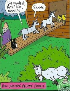 How unicorns became extinct. ❣Julianne McPeters❣ no pin limits Christian Comics, Christian Cartoons, Funny Christian Memes, Christian Humor, Religious Jokes, Jewish Humor, Catholic Memes, Atheist Jokes, Funny Cartoons