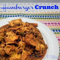 Hamburger Crunch  - crunchy, meaty and saucy!  #hamburger #casserole via:withablast.blogspot.com