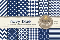 Navy Blue Digital Papers by JennyL Designs on @creativemarket