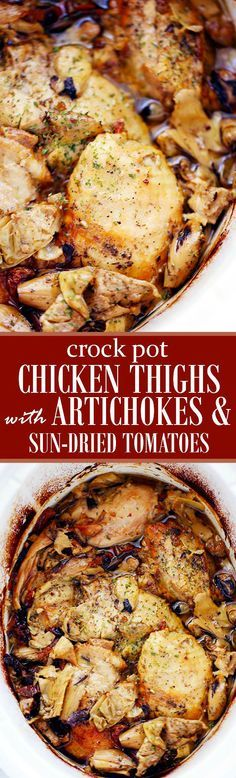 Crock Pot Chicken Thighs with Artichokes and Sun-Dried Tomatoes   www.diethood.com   Melt-in-your-mouth chicken thighs prepared in the crock pot with artichoke hearts and sun-dried tomatoes.   #crock_pot #chicken